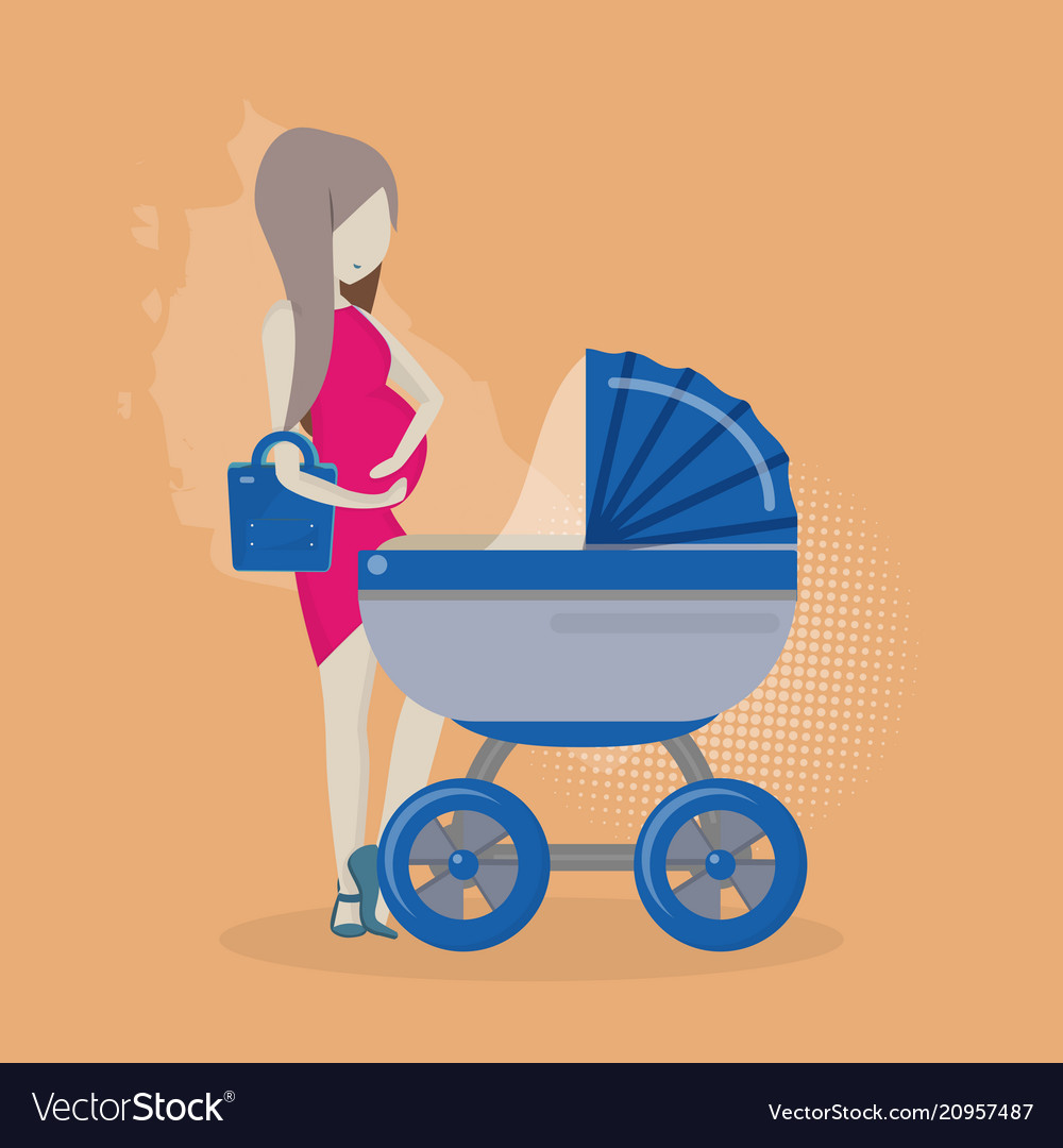 Pregnant woman with a stroller