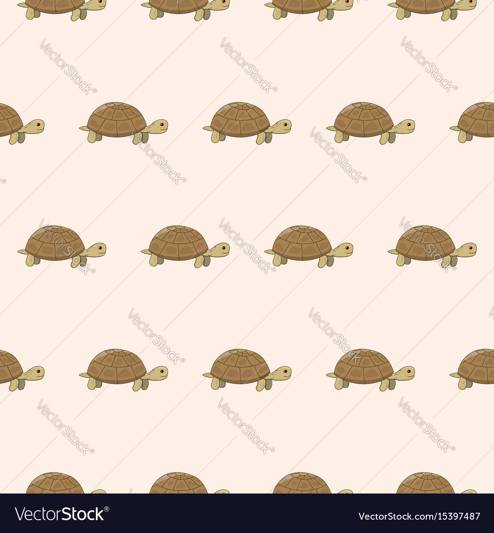 Seamless pattern with cute cartoon turtle