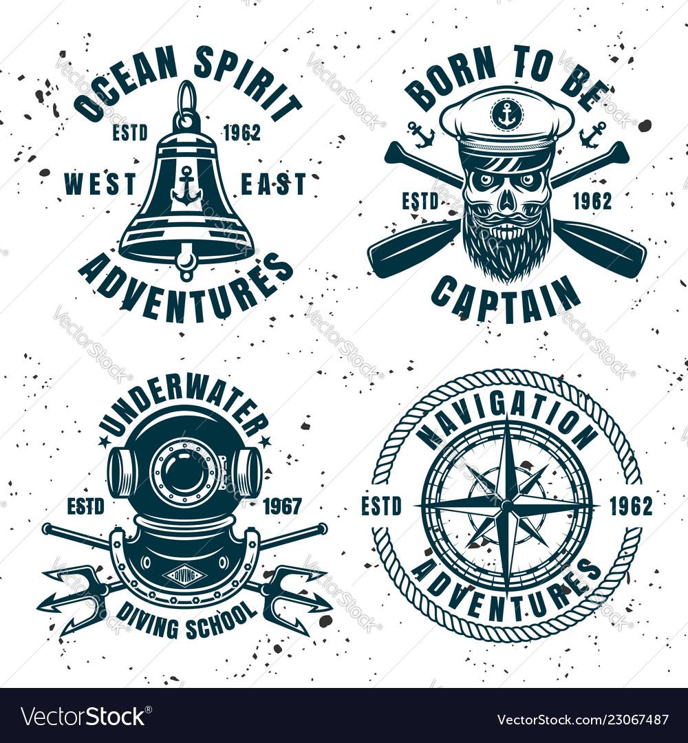 Set of four maritime emblems or badges