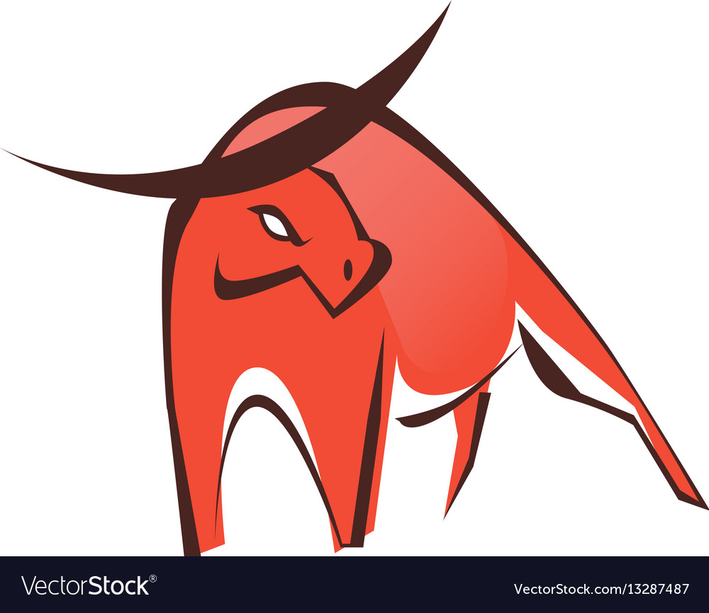 Stylish red bull logo symbol vector image