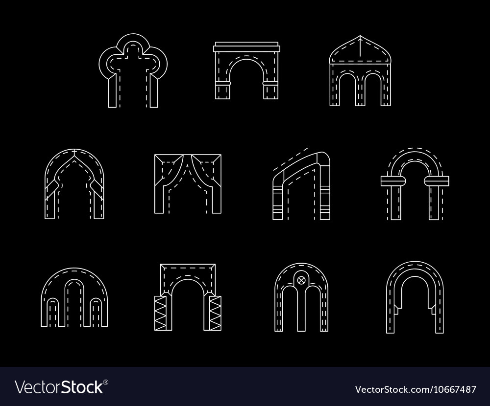 Types of arch white line icons collection vector image