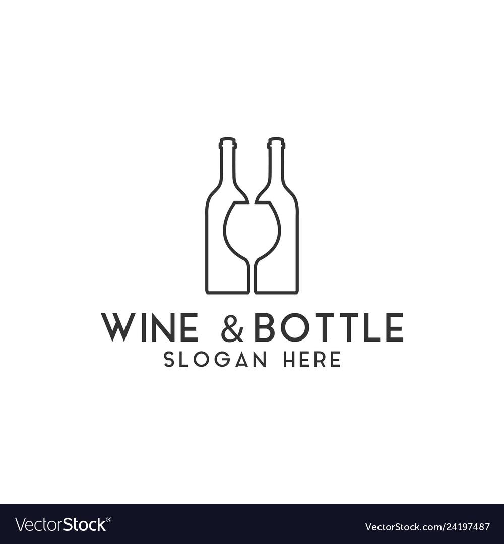 Wine bottle logo design template isolated