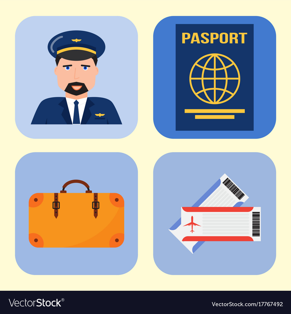 Aviation icons set airline graphic symbols