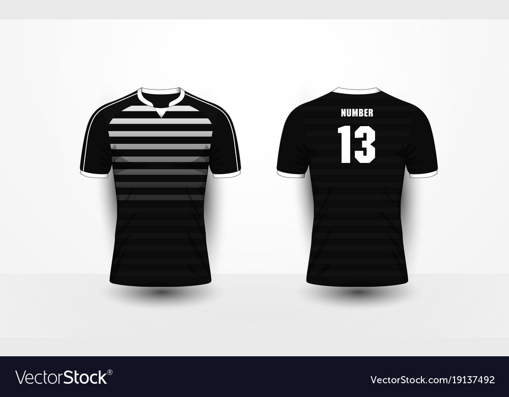 Black and white stripe sport football t-shirt