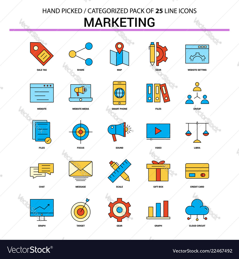Marketing flat line icon set - business concept