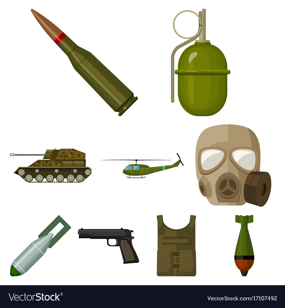 Military and army set icons in cartoon style big