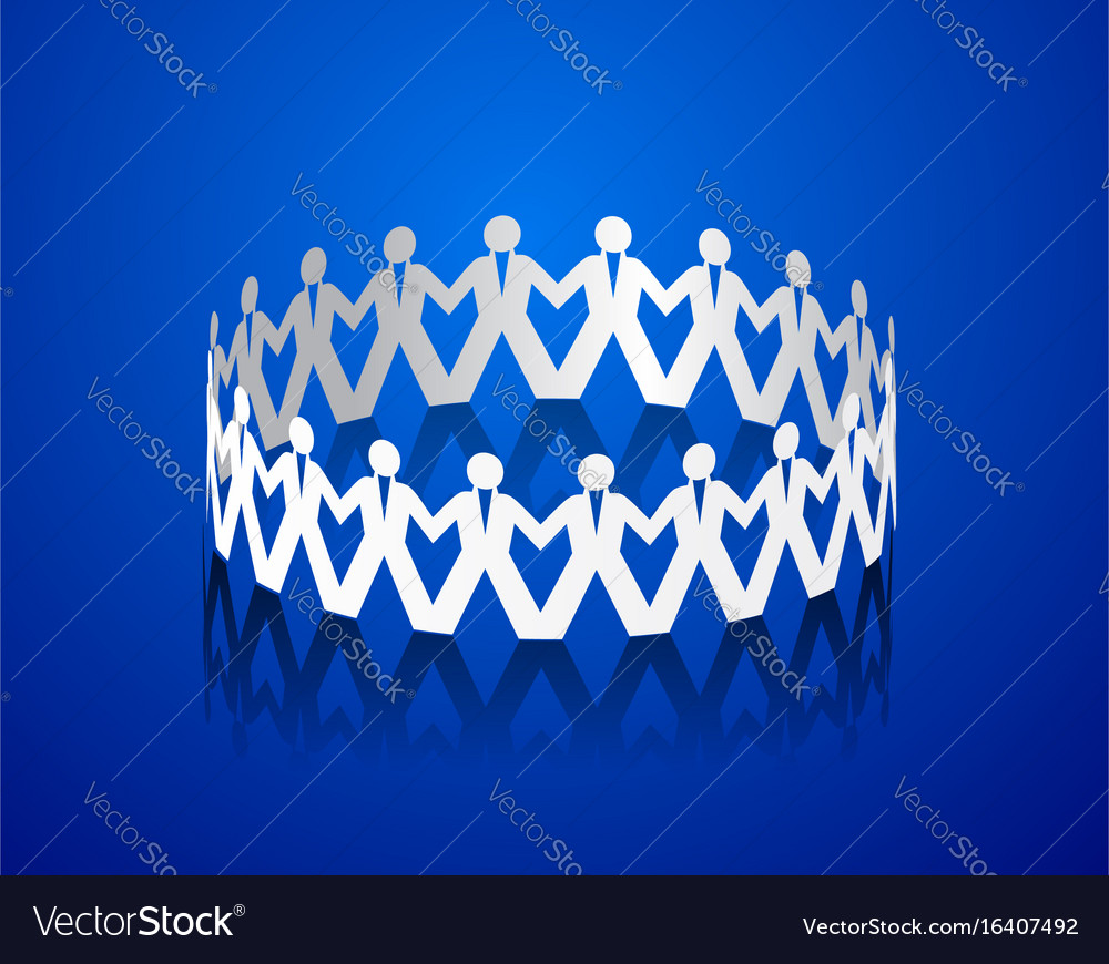 Paper men holding hands in the shape of a circle