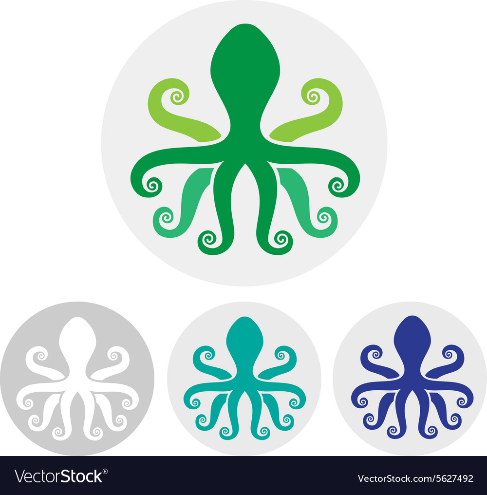 Silhouette an octopus on light background