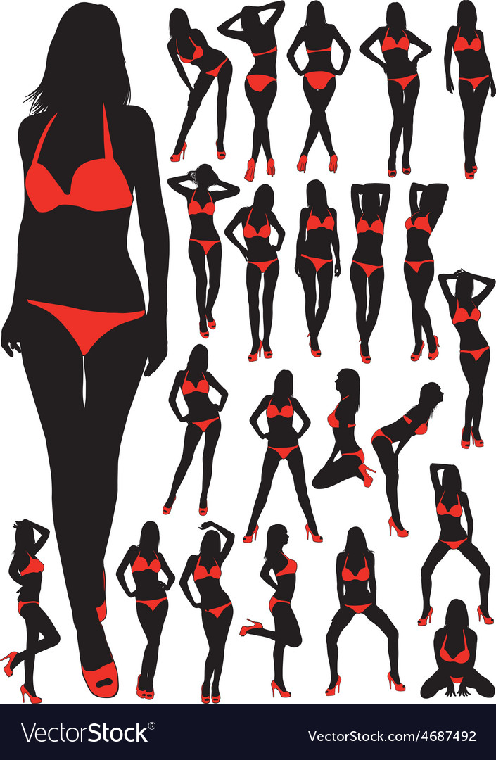 Silhouettes girls in swimsuit vector image
