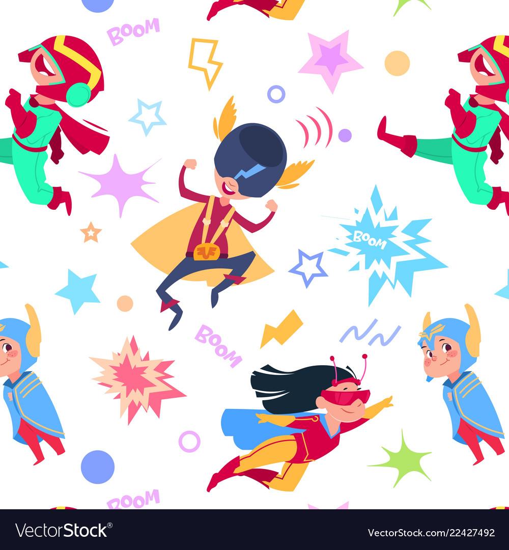Superhero kids seamless pattern cartoon