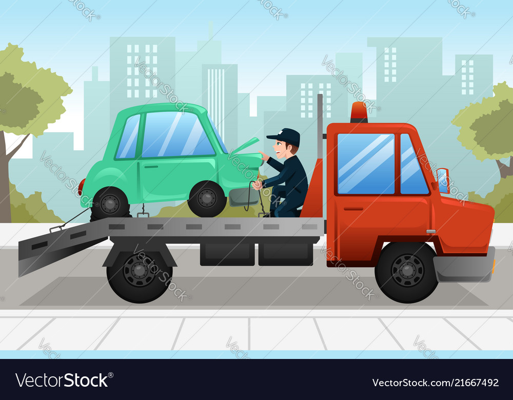 tow truck towing a broken down car royalty free vector image