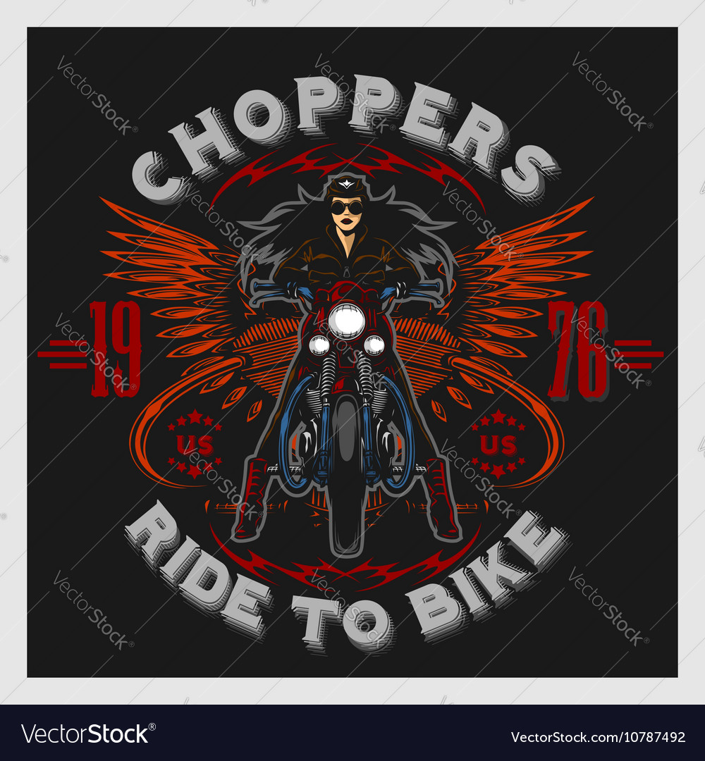 Vintage motorcycle garage motor club emblem with vector image