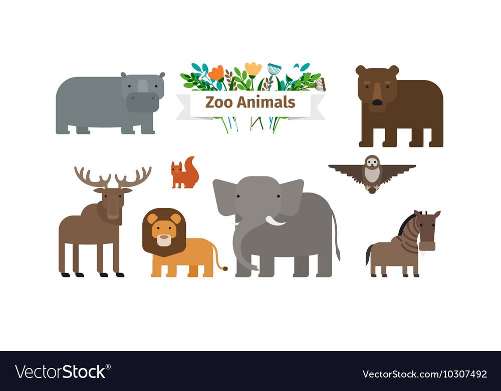 Zoo Animals Flat Icons Set vector image