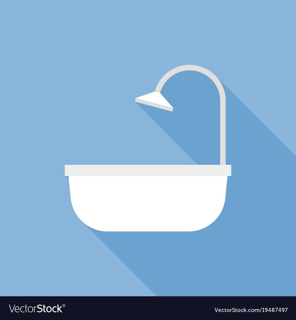 Bathtub icon flat design with long shadow Vector Image