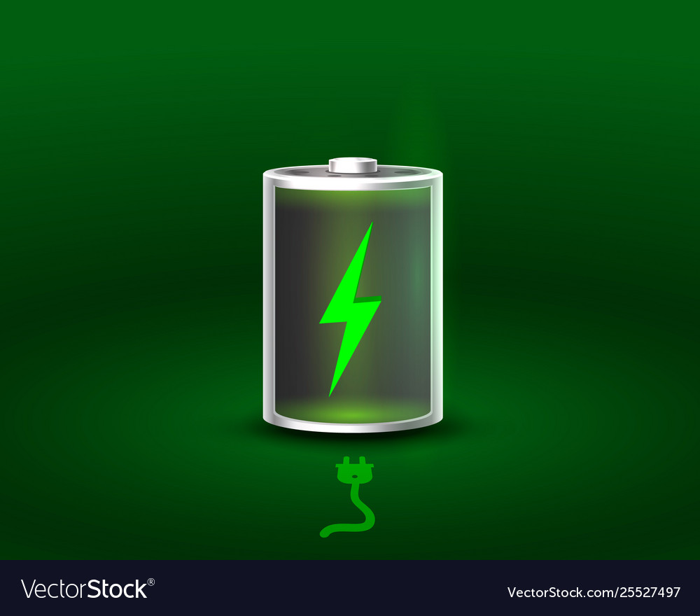 Discharged and fully charged battery