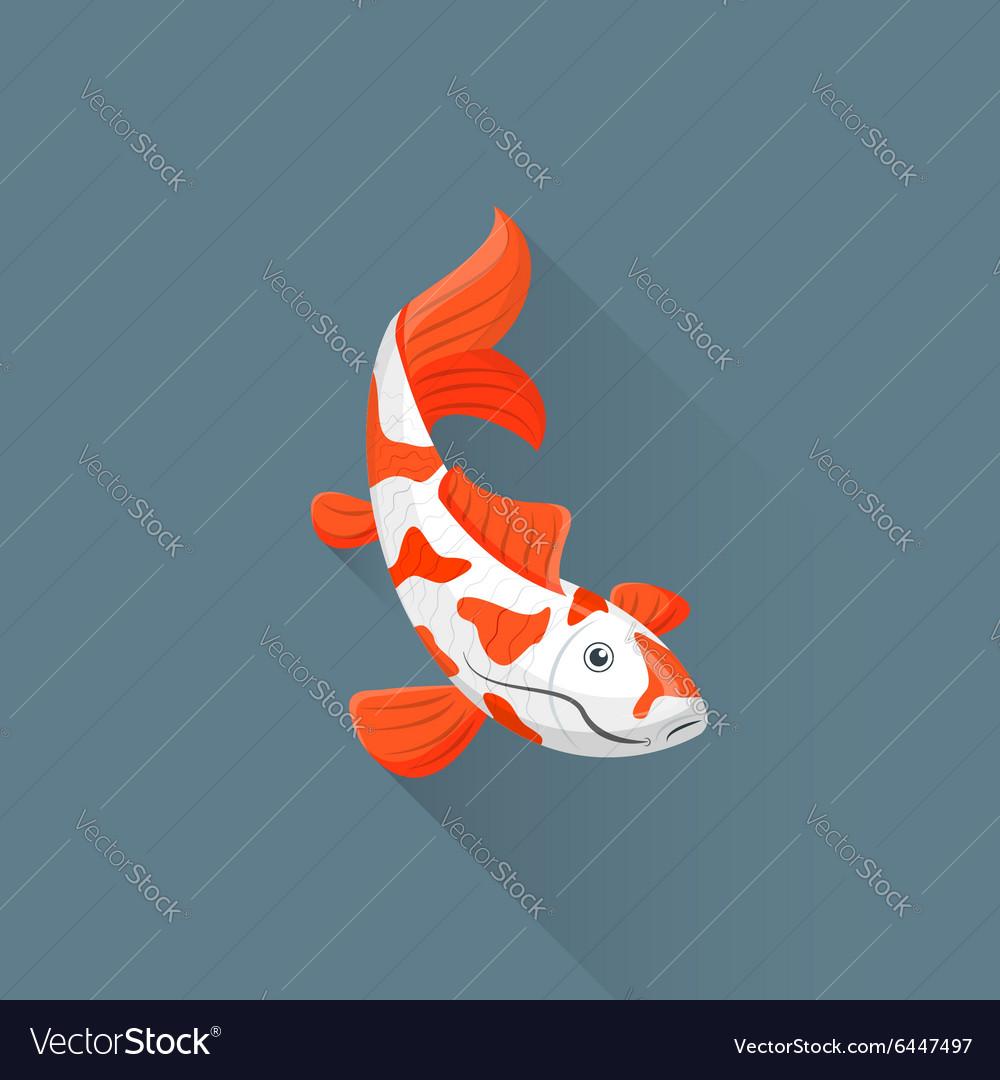 Flat japanese koi fish icon