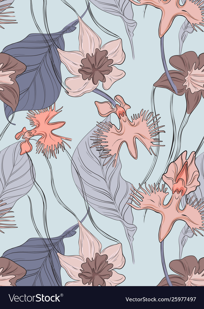 Floral orchid pattern repetition tender blossom
