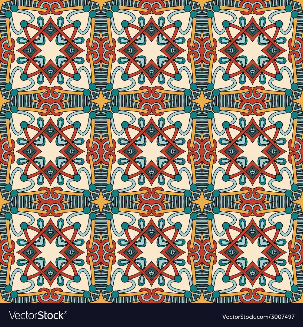 Geometry vintage floral seamless pattern