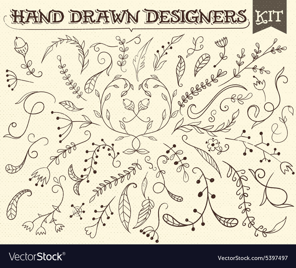 Hand Drawn vintage floral elements All elements