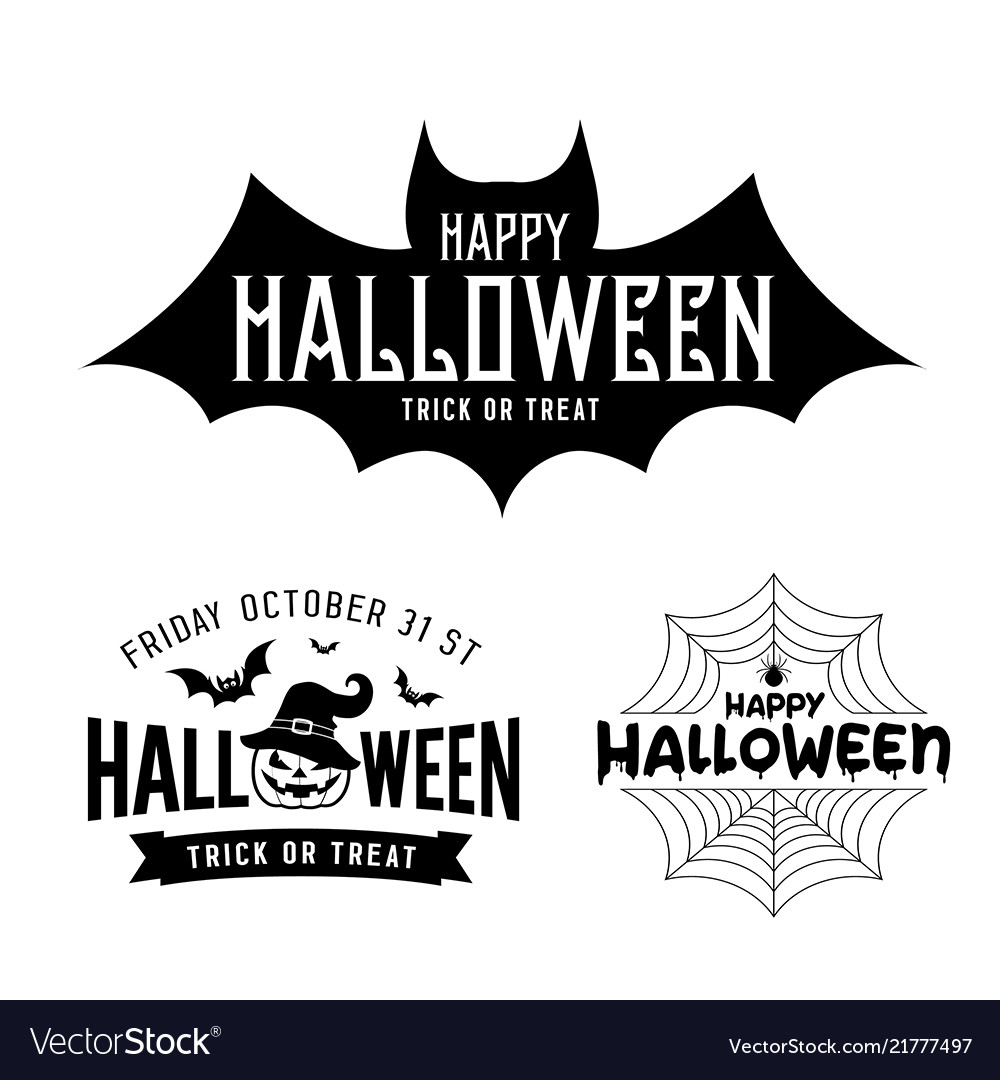 Happy halloween black and white design collections