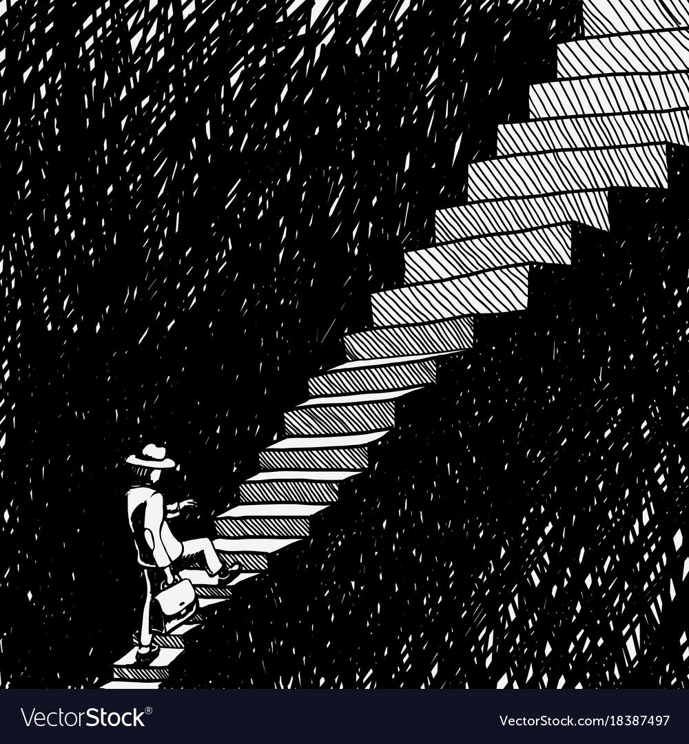 Man climbs the stairs vector image