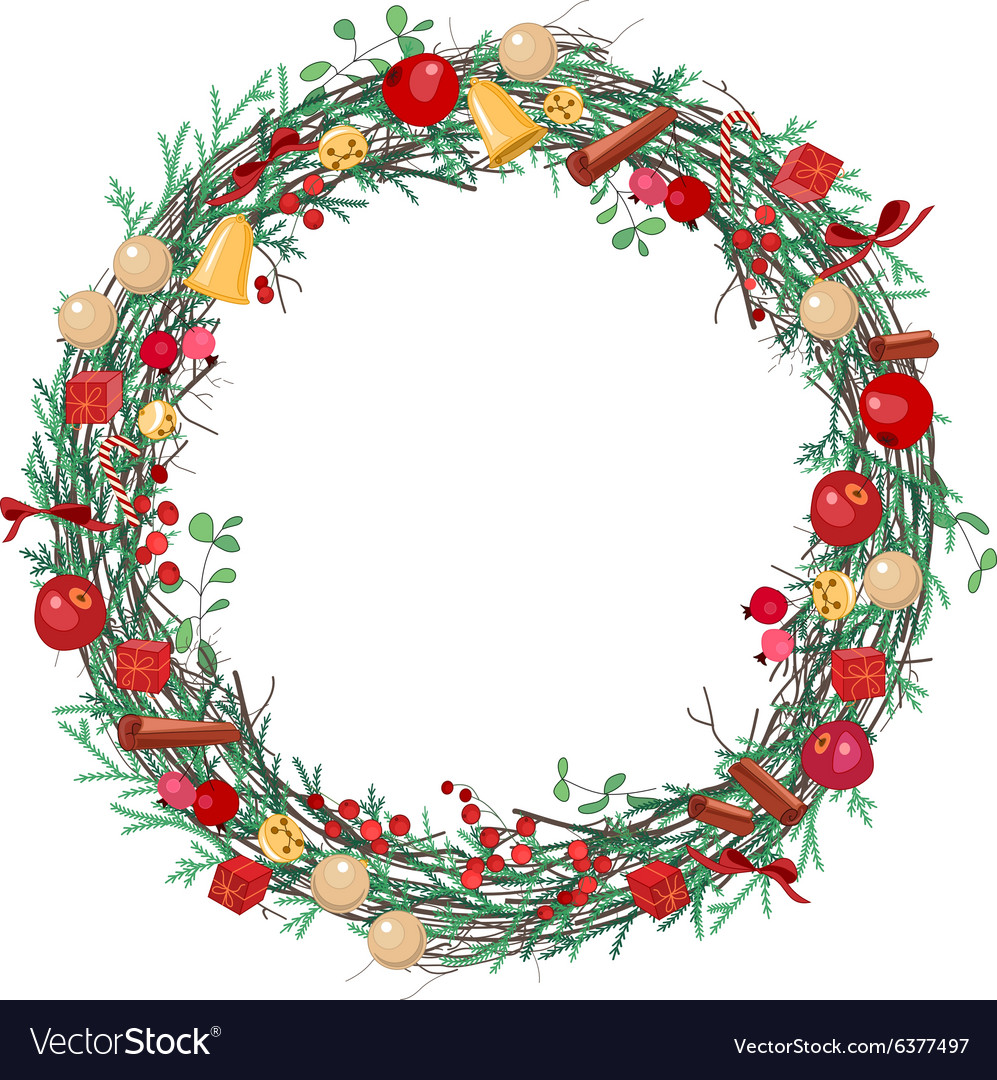 Round Christmas wreath with fir branches