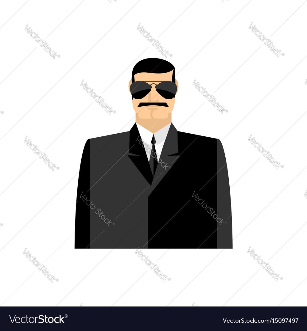 Spy portrait secret agent in black suit bodyguard