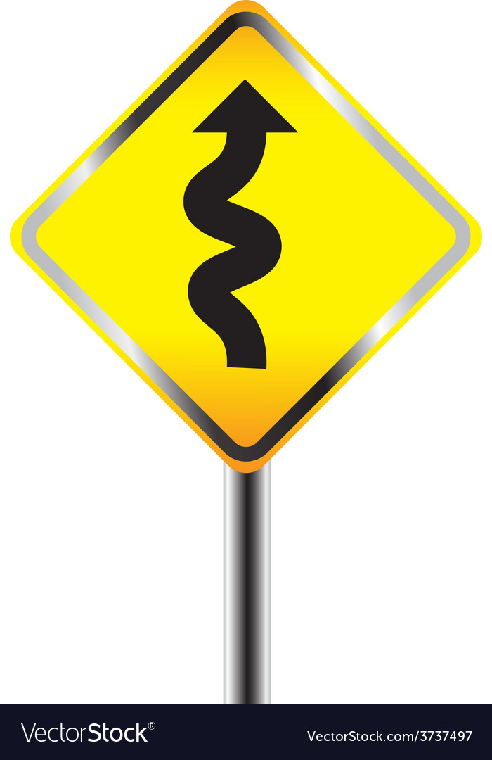Traffic sign with winding road