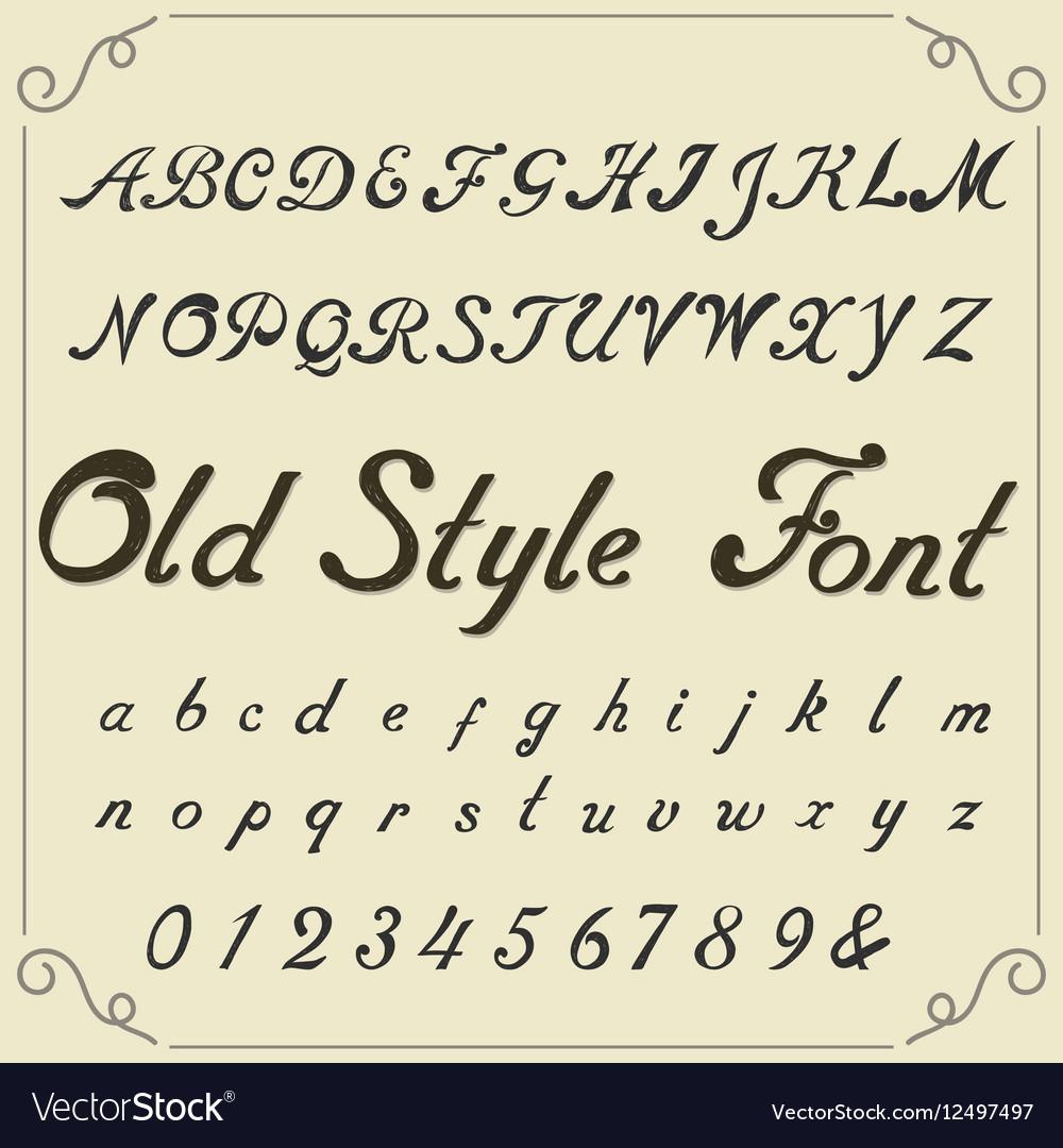 Vintage alphabet hand drawn font
