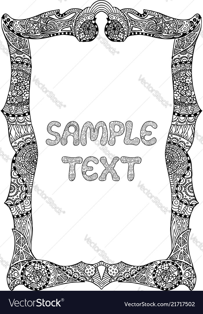 Adult coloring book page with decorative frame
