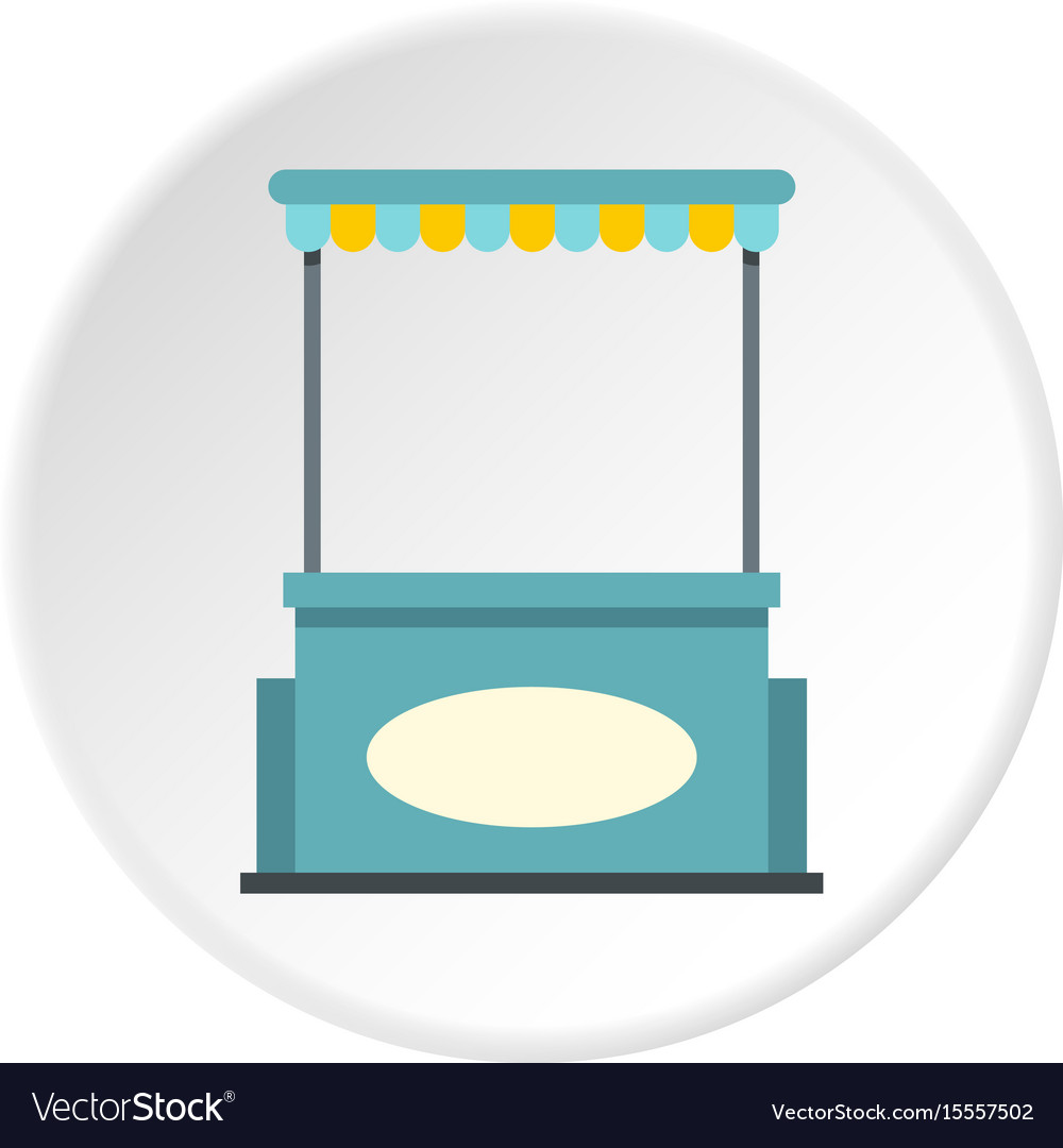 Blue shopping counter with tent icon circle vector image