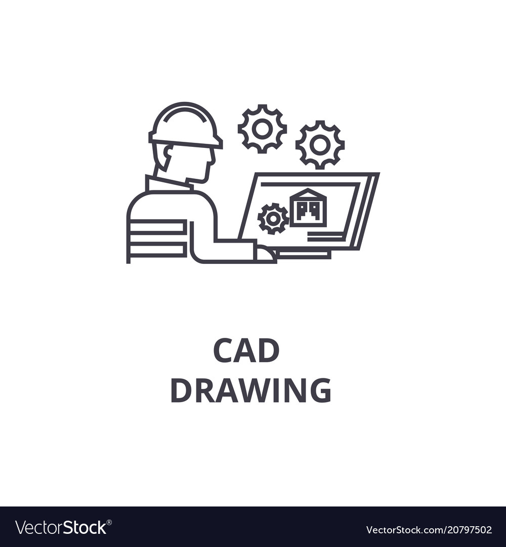 Cad drawing line icon sign
