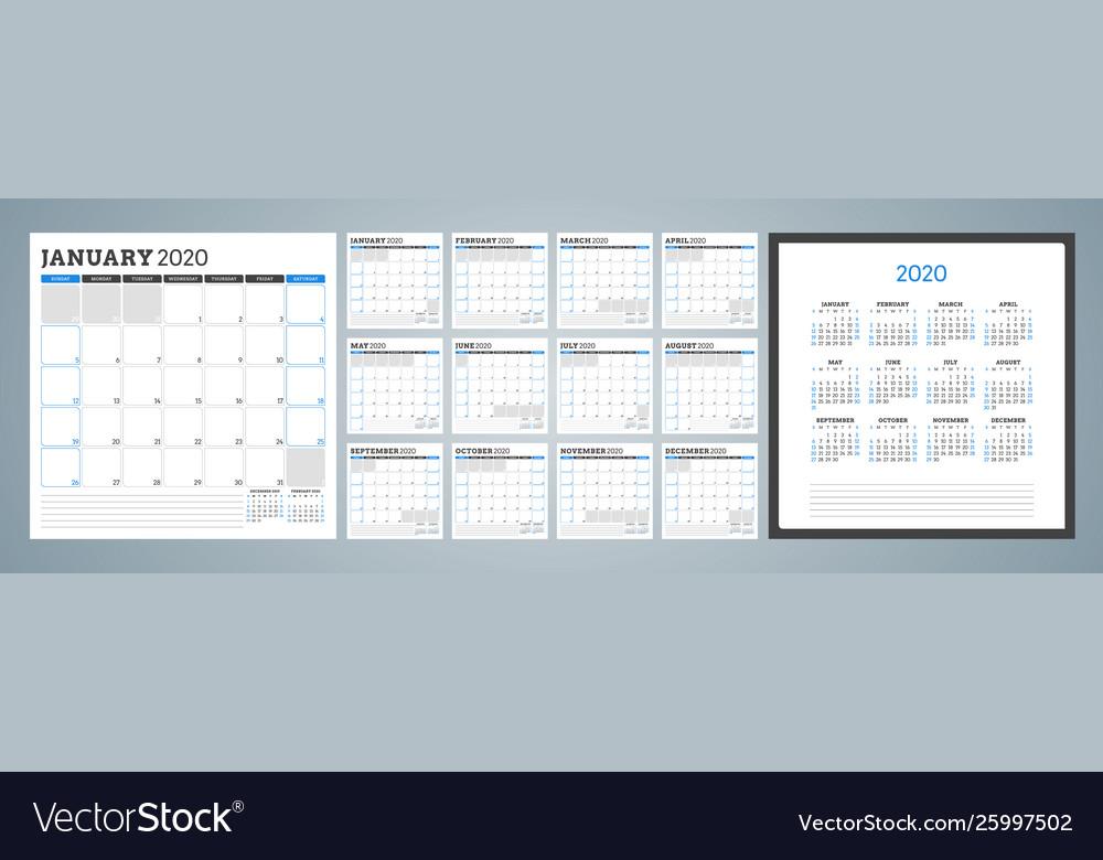 Calendar planner for 2020 year week starts