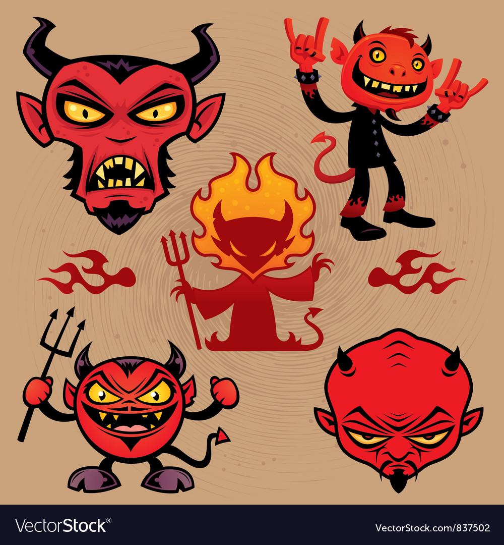 Cartoon Devil Collection vector image