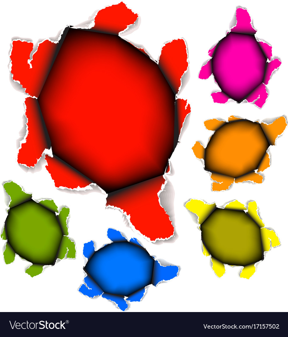 Collection of holes in paper vector image
