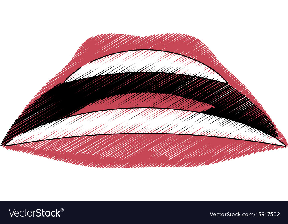 Drawing mouth lips comic image vector image