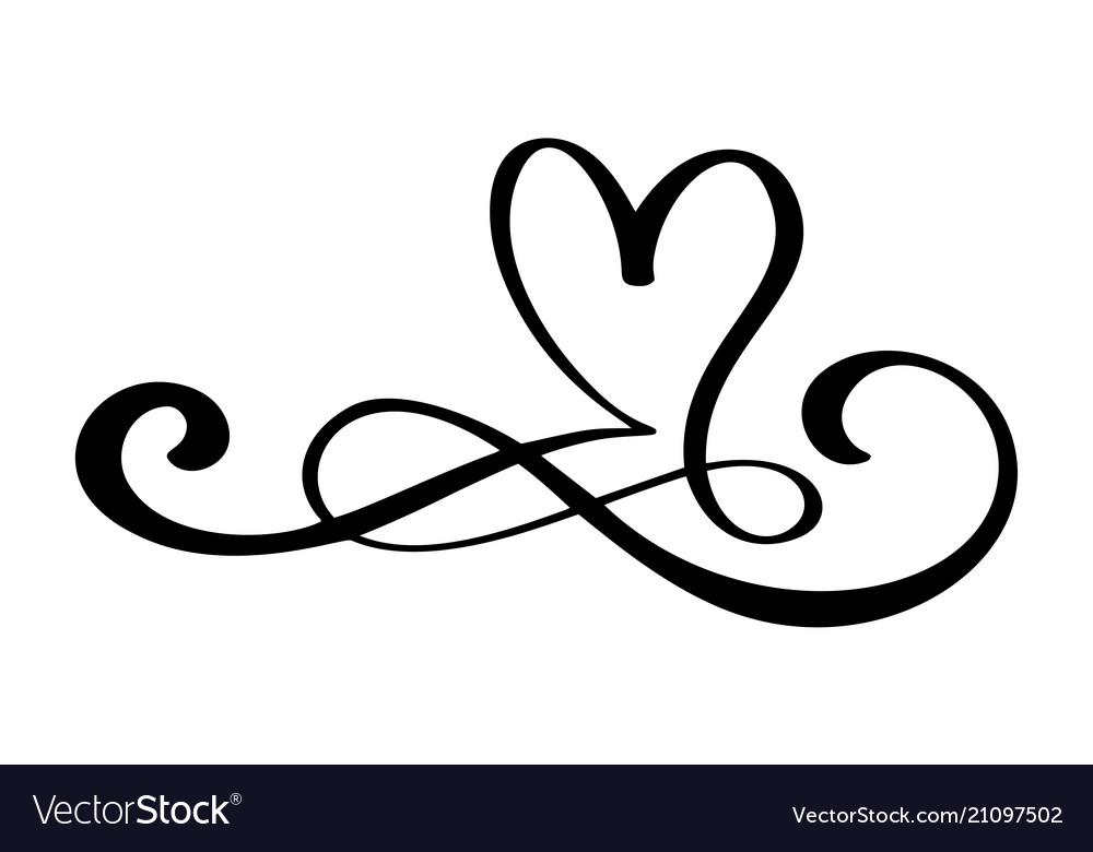 Hand Drawn Love Border Flourish Heart Separator Vector Image