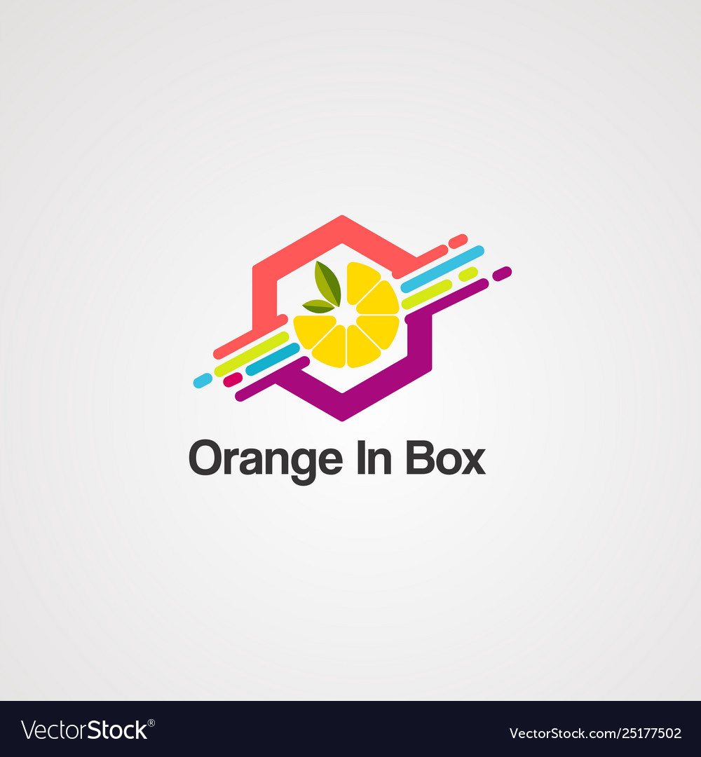 Orange in box logo icon element and template