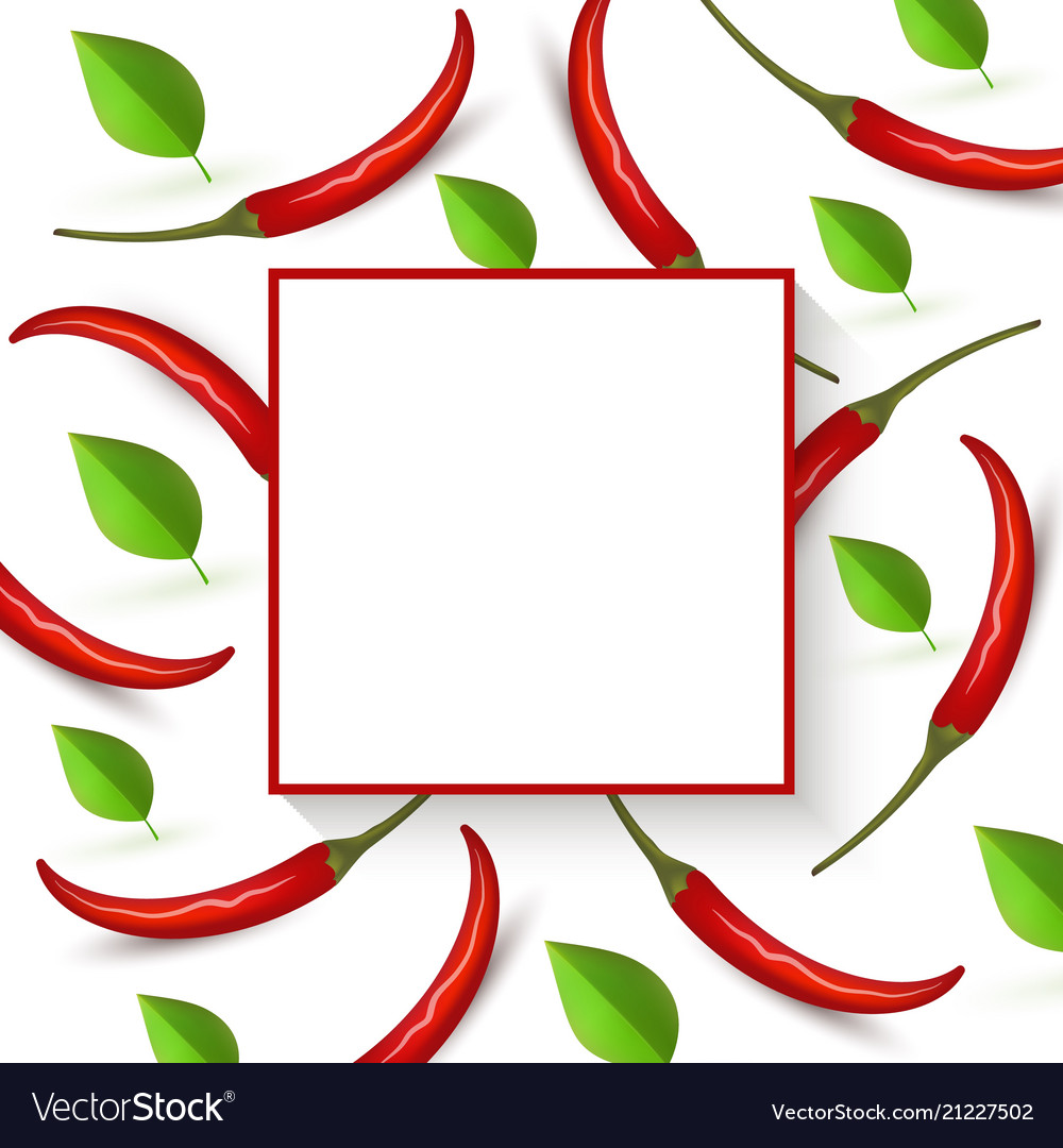 Red hot chili pepper banner with ripe vegetables vector image