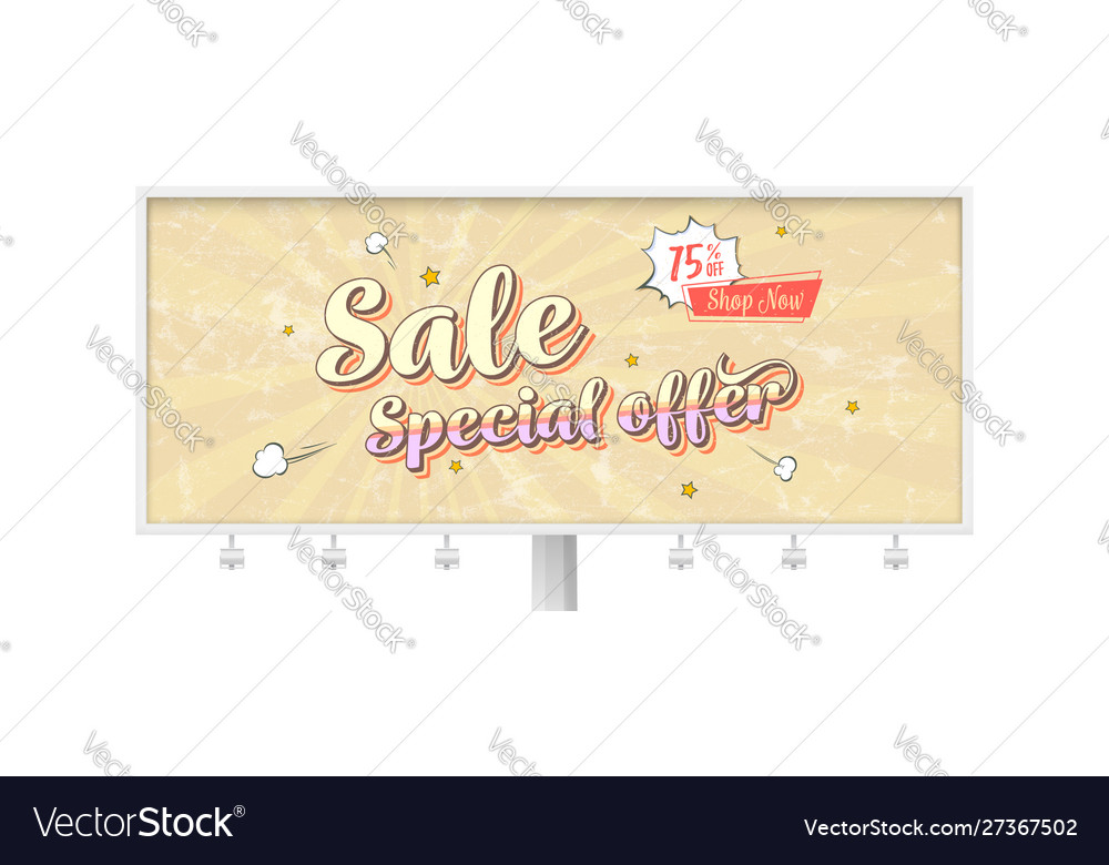 Sale special offer billboard with vintage card in