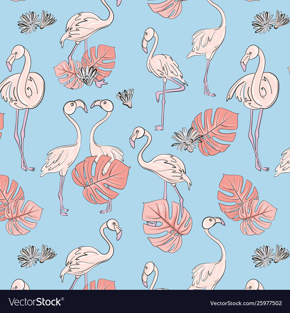 Seamless flamingo and monstera leaves pattern