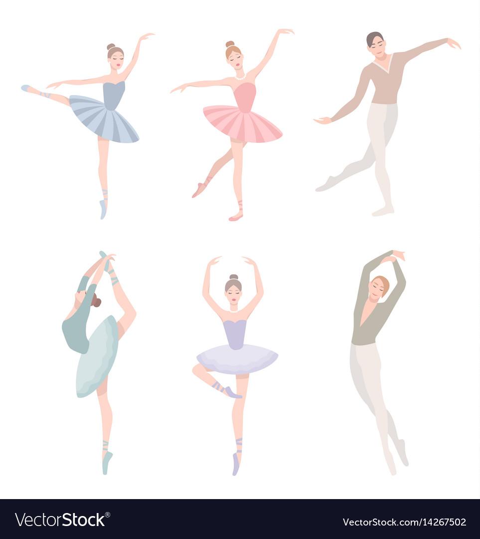 Set of ballet dancer in flat vector image