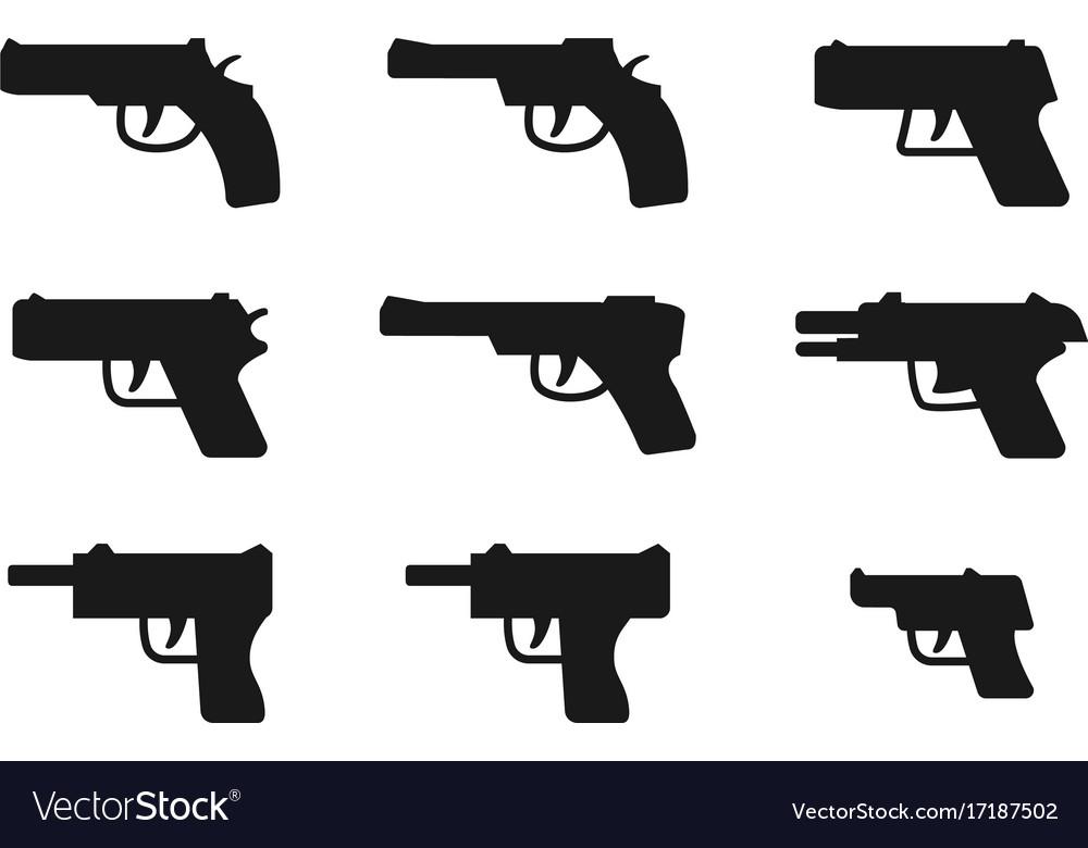 Set of gun icon in silhouette style