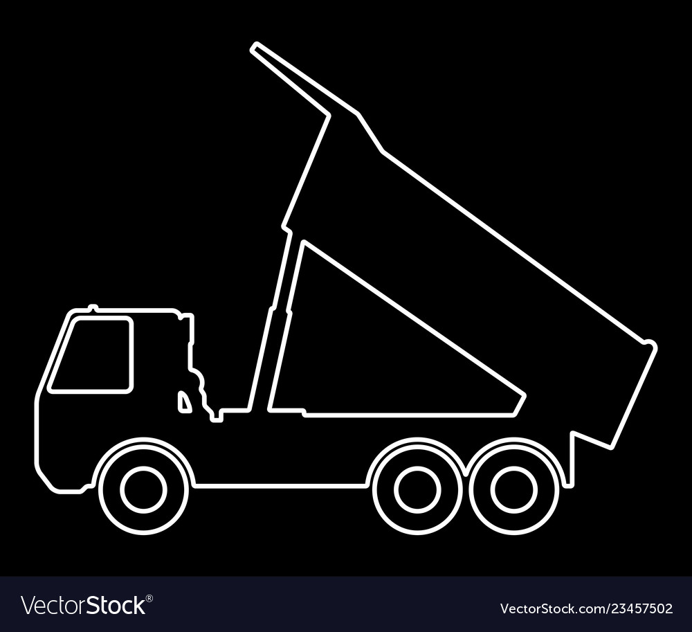Silhouette of a dump truck on a black background vector image