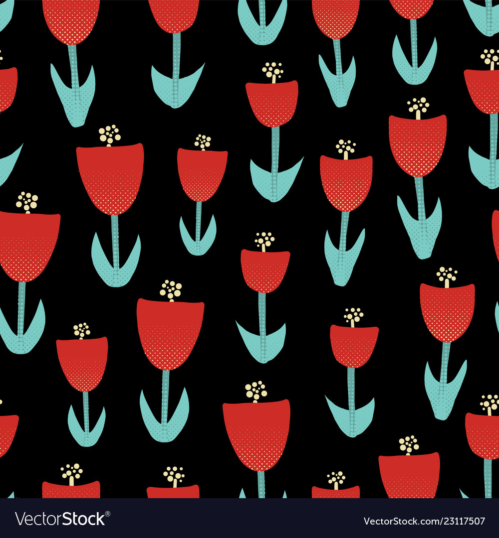Abstract red tulip flowers seamless pattern