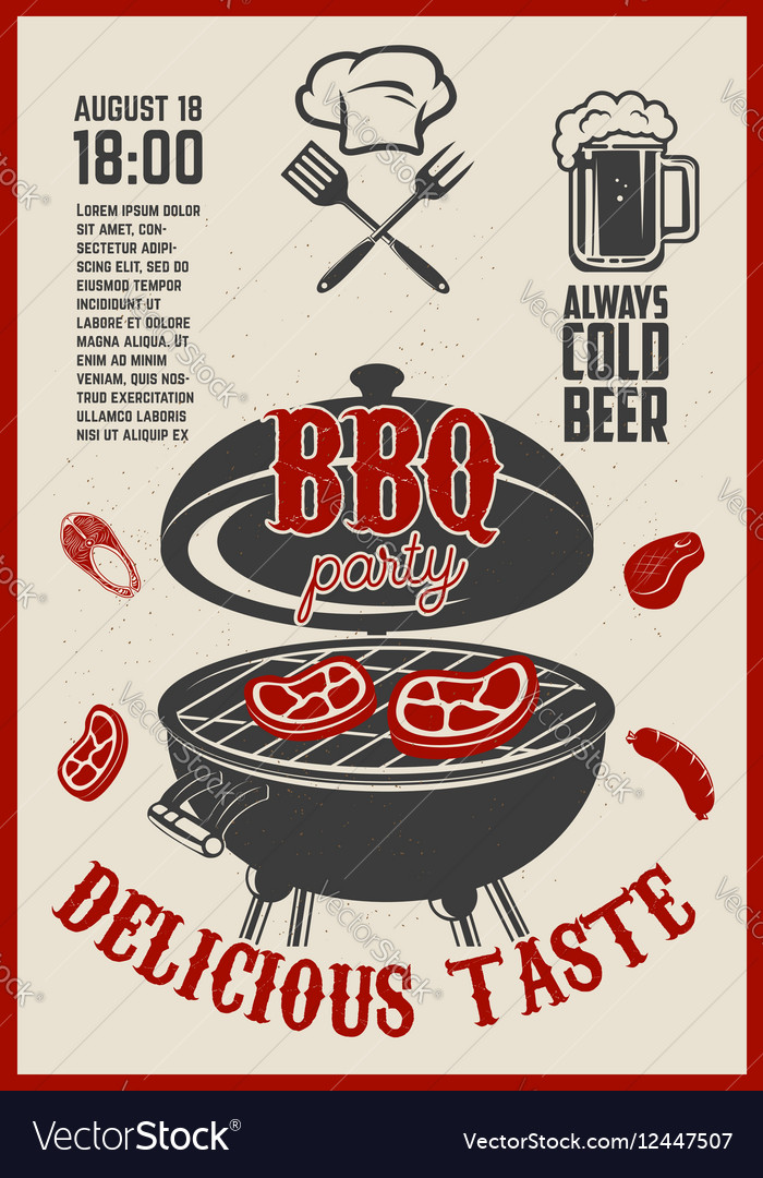 Barbecue open air party flyer Vintage grill on vector image