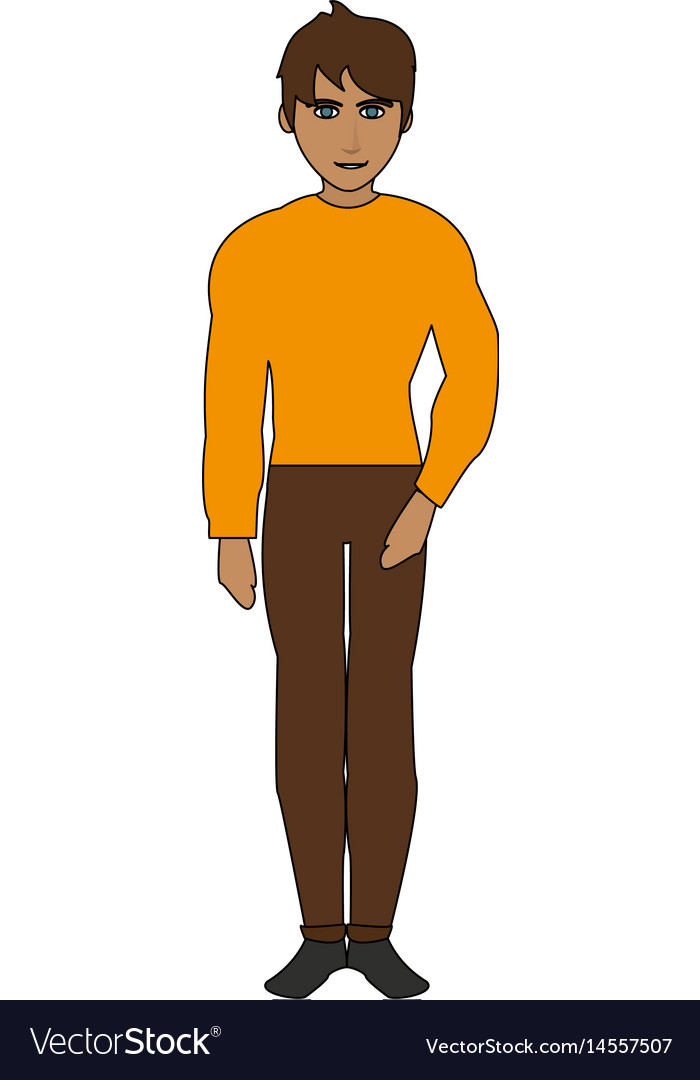 Color image cartoon full body guy atlethic with vector image
