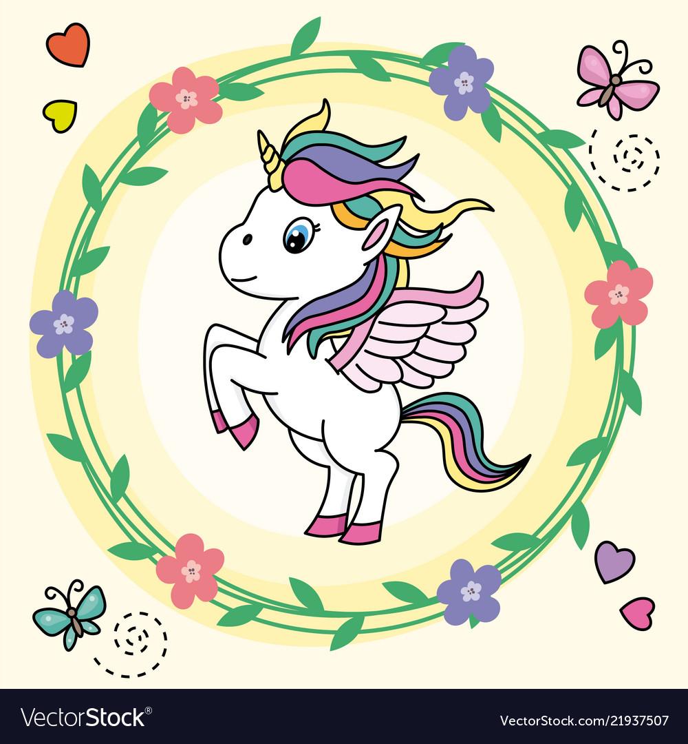 Cute unicorn jumping inside a flower frame Vector Image