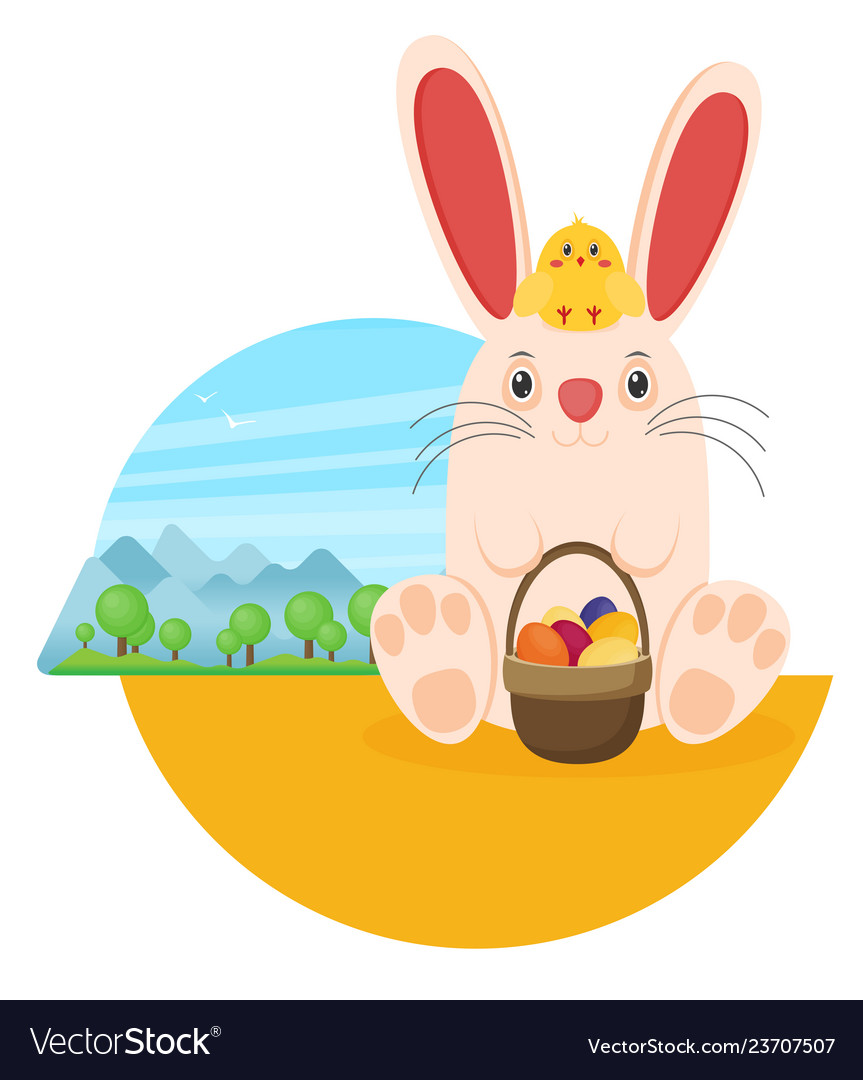 Easter bunny with chicken in flat style