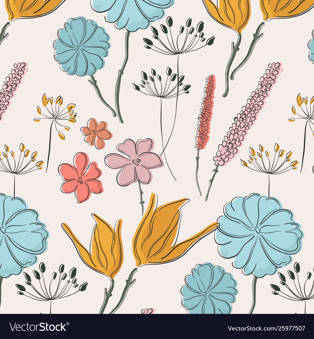 Flower summer fabric pattern spring waterclor